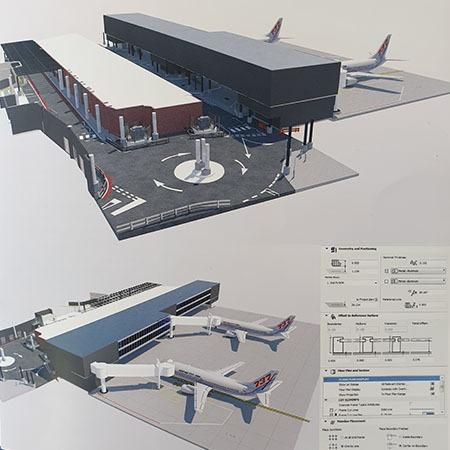 BIM model representing airport stands