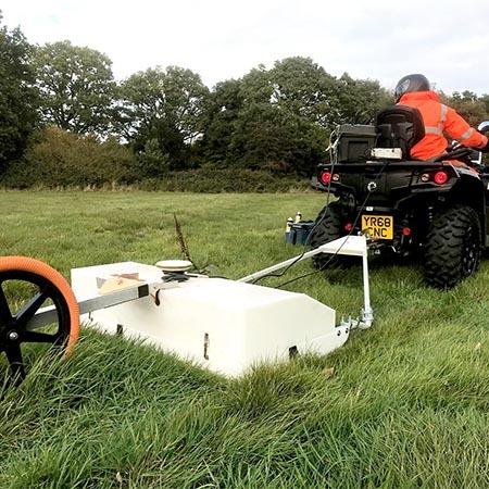 Quadbike gpr scanning in field